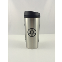 brushed metal travel mug with cobra logo on it
