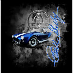 black t-shirt with blue shelby cobra