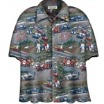 button up camp shirt with shelby cobras on them