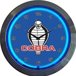 neon blue clock with shelby cobra logo in the center