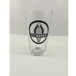 clear pint glass with shelby cobra logo