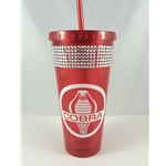 red plastic cup and straw with white cobro logo