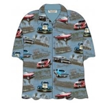 light blue button up camp shirt with ford mustangs