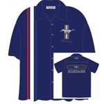 blue mustang pit crew button up shirt