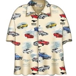 cream colored button up shirt with mustangs on them