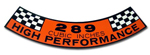 289 High Performance Decal